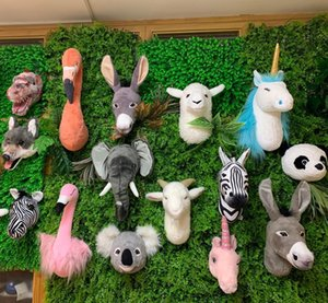 2021 wholesale ins style stuffed animal head wall decoration head lifelike printed animal head for kids bedroom Y1116