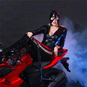 Light Masked Hot Forking Zipper Long Style Frenulum Cardigan Bodysuit Latex Leather Lingerie Porno Bodystocking Club Catsuit Sleeves Nlmji