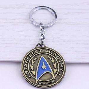 star treks war keychain Captain's logo jewelry Gift vintage keyring round pendant car door key holder chaveiro for men wom gift1