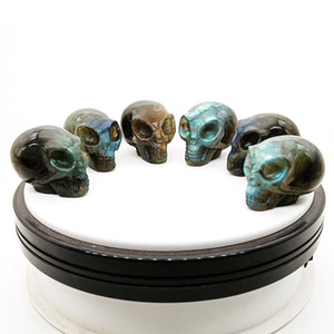 Natural Labradorite Hand Carved Alien Skull Figurines Fine Art Sculpture Crystal Agate Ornament