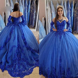 Princess Arabic Royal Blue Quinceanera Dresses 2021 Lace Applique Beaded Sweetheart Prom Dresses Lace-up Sweet 16 Party Dress