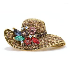 Vintage Shiny Golden Rhinestone Hat Brooch for Women Fashion Party Wedding Dress Jewelry1