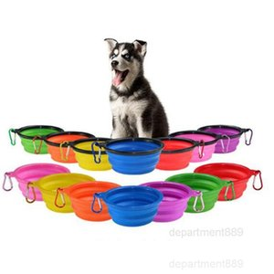 Folding Puppy Travel Collapsible Pet Dog bowls Cat Feeding Bowl Water Dish Feeder Silicone Foldable 9 Colors OWA1051