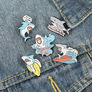 Shark are Friends Enamel Pin Custom Shark Week Banana Surfing Brooches Bag Lapel Pin Fun Animal Badge Cute Jewelry Gift for Kids