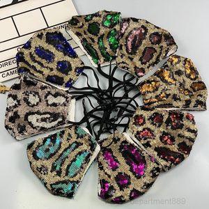 8 Colors Fashion Bling Leopard Sequins Dustproof Mouth Designer Reusable Women Face Mask High Quality Masks DHC1338