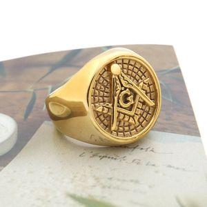 The best quality hot sale Stainless Steel Men's Gold Silver Black Masonic Jewelry Freemason Mason