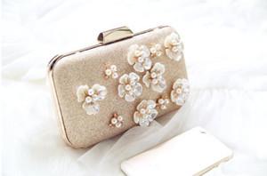 Designer-2020 Golden Flowers Evening Clutch Bag Women Bags Wedding Shiny Handbags Bridal Metal Bow Clutches Bag Chain Shoulder Bag