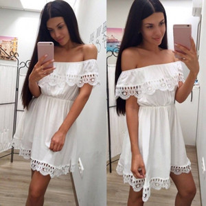 Fashion Women Elegant Vintage Sweet Lace White Dress Stylish Sexy Slash Neck Casual Slim Beach Summer Sundress Female