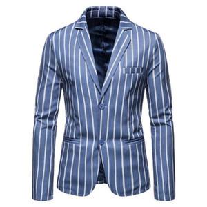 Two Button Blue Slim Fit Blazer Men Casual Vertical Stripe Suit Jackets Autumn Plus Size Wedding Blazer Masculino