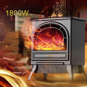 1800W Freestand موقد كهربائي موقد سخان ثلاثي الأبعاد محاكاة لهب تأثير التحكم عن المنزل مكتب التدفئة موقد المبرد