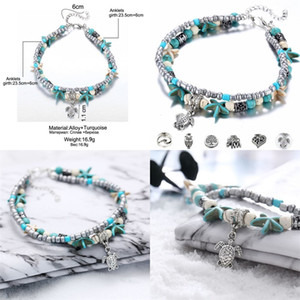 Doble cubierta Tortuga Tortuga Starfish Conch Beaded Yoga Beach Colgantes Pulsera Mujer Resina Lucky Necklace Fashion Joyery Ornament 1 8ZXA M2