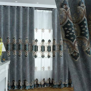 European Schneider Sticker Embroidery Shade Curtains for Living Dining Room Bedroom.