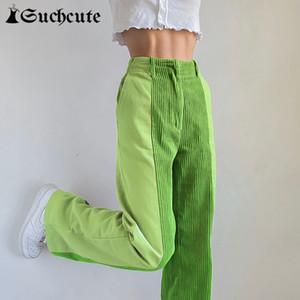 Suchcute Patchwork Mujeres Y2K Corduroy High Cintura femenina Pantalones rectos KPOP Streetwear 90s Outfits Casual Pantalones