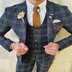 British Style Men Suits 3 Pieces Custom Made Wedding Suits Lapel Cotton High Quality Handsome Business Coat+Pant+Vest