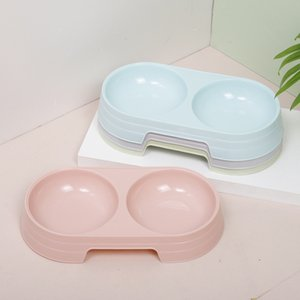 2020 New Style Candy-Color Plastic Cat Fashion Ins Vento Macarons Colore Double Oval Pet Bowl