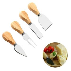 Fromage Couteaux Sets de chêne poignée couteau fourchette Pelle beurre Pizza Slicer Coupe de coupe en acier inoxydable fromage cuisson Set HWC3661 Conseil