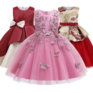 2020 Summer Kids For Girl Dress Elegant Flower Princess Evening Party Dress Formal Wedding Embroidered Dress Children Clothing F1130