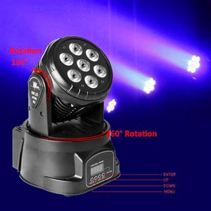 Hot sale 80W 7-RGBW LED Auto   Voice Control DMX512 Mini Moving Head Stage Lamp (AC 110-240V) Black new High quality Stage Lighting