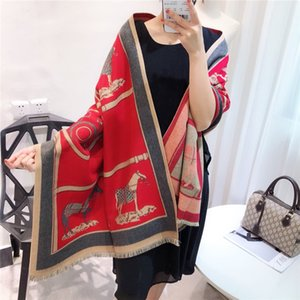 2019 Winter Latest Fashion Style Women Pashmina Cashmere Horse Scarf Warm Jacquard Thick Shawl Scarfs
