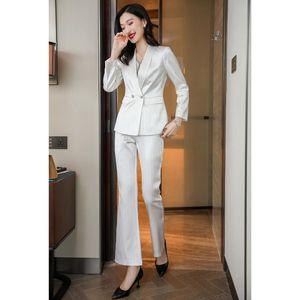 New Elegant Autumn White Pant Suits For Women 2 Piece Set Formal Blazer Striped Jacket Trousers Office Lady Plus Size S-4XL