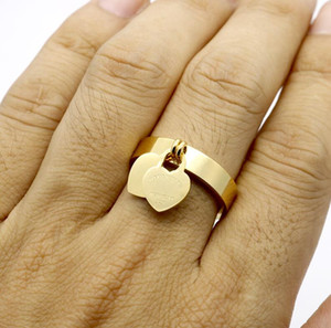 fashion jewelry 316L titanium gold-plated heart-shaped ring T letter letters double heart ring female ring for woman ps1659