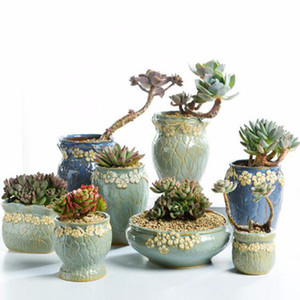 Succulent Plants Flowerpot Small and Medium Size Vase Retro Floral Flower Pot Creative Crafts Desktop Ornaments Planter Decor Q1125