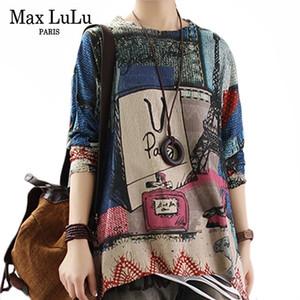 Max Lulu Winter Winter Coreano Estilo de moda diseñador Damas Punk Ropa Para Mujer Punto Sujetadores sueltos Vintage Femenino Impreso Jerseys C1121