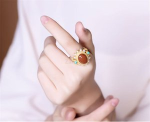 S925 silver inlaid natural southern red agate pearl turquoise ring luxury charm female jewelry open ring