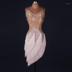 Lady Performance Latin Dance Roupas Sênior Mulheres Pedras Tassel Latin Dance Dance Dress Girls Show Dresses1