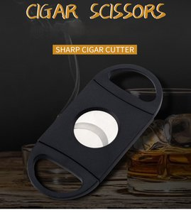 Cigar Cutter Pocket Plastic Stainless Steel Double Blades Scissors Knife Tobacco Cigars Tool ABS Black Cigar Accessories