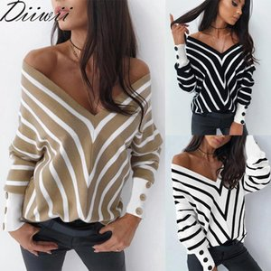 DiiWii Hot Style Girls Fall Winter Top Off Shoulder Stripe V Neck Knit Sweater Loose Fitting Long Sleeved Bottom Sweater