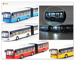 Alloy Pull Back Double Bus High Simulation City Bus Model Toy Vehicles Metal Diecasts Flashing & Musical Toy Car Children's Gift Z1124