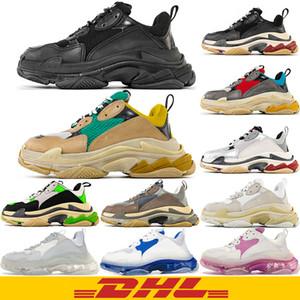 Dhl شحن مجاني أعلى جودة 2020 جديد باريس الأزياء 17fw الثلاثي s حذاء أحذية الرجال النساء الأخضر الأبيض خمر القديم أبي الجد عارضة الأحذية