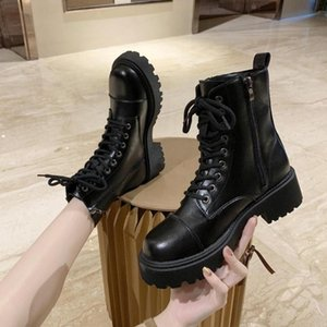 ICCLEK Bayan Ayakkabıları 2021 Kış Moda Siyah Motosiklet Botları Fırçalanmış Kumaş - Liner Sıcak Satış Rahat Sıcak