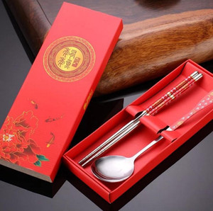DHL 100 pcs / lote favores do casamento presentes flores roxas colher de aço inoxidável e chopsticks set kit de mesa atacado