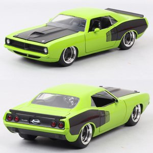 1 24 Scale Vintage Jada 1973 Plymouth Barracuda Diecast Toy Vehicle Metal Pony Auto Muscle Racing Car Model Hobby Collectibles Z1124