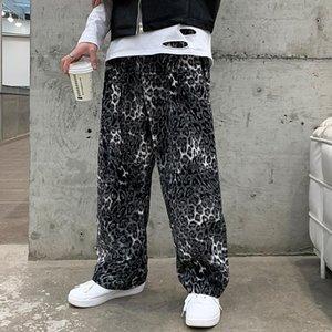 Gürtel Männer Leopard Harem Hose 2021 Frühling Neue Gerade Casual Herren Gleis Hose Hip Hop Streetwear Vintage Lose Moppinghose