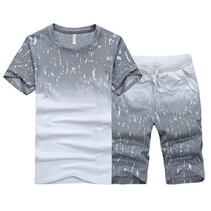 Tracksuit Male 2020 Men Clothing Sportswear Set Fitness Summer Print Men Shorts + T shirt Men's Suit 2 Pieces Sets Plus Size 4XL