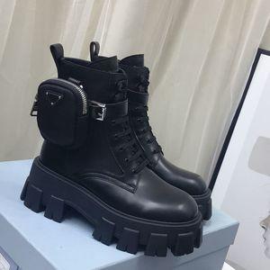 Bottes en cuir neuf de style et de nylon Martin Chaussures Chaussures Bottes de combat pour femmes Pochette amovible Pochette Black Lady Bottillons en plein air Chaussures