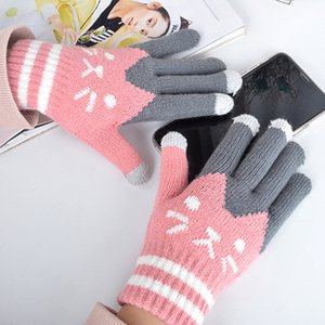 Luxury-Female Warm Plush Thickened Cold Proof Cute Cartoon Students Sweet Knitting Winter Gloves Kids Gant Hiver