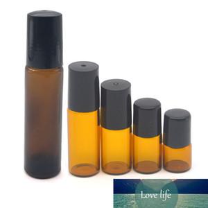 500 stücke 1ml 2ml 3ml 5 ml 10ml leerer bernsteiner Rollenglasflasche mini parfüm ätherische ölproben rolle auf vial nachfüllbar