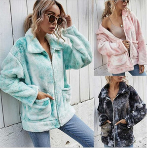 20 European and American winter new ladies tie-dye plush thickened zipper loose gradient color fashion lapel jacket
