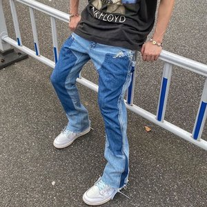 High Street Color Block Spliced Clothing Jeans Mens Oversize Wijde Pipe Straight Denim Flare Retro Losse Casual Broek