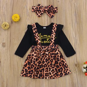 Pudcoco Newborn Baby Girl Clothes Letter Print Round Neck Sleeve Romper Leopard Print Strap Skirt Headband 3Pcs Outfits Set
