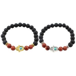Black Lava Natural Stone Bead Bracelet Hamsa Hand Charm Bracelet for Men and Women Fashion Buddha
