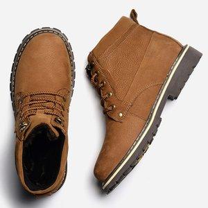 Full Grain Leather Men Winter Boots Size 38~50 Handmade Warm Men Winter Shoes #8988 201126