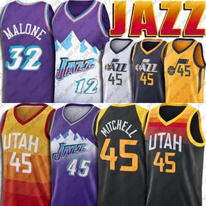 Donovan 45 Mitchell Jerseys UtahJazzJersey John 12 Stockton Jersey Karl 32 Malone Jerseys Baloncesto Vintage Jersey
