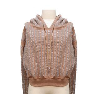 Женское повседневное платье с капюшоном свободно контрастный цвет блесток свитер свитер платье 2020 осенние дамы новая мода плюс размер одежды