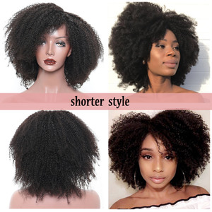 Free part Afro Kinky Curly Wig braizlian full lace front Wigs 180 Density Glueless short synthetic Wig preplucked hairline For Black Women