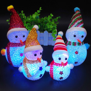 Luminous Snowman Christmas Children's Toy Decoration Gift LED Particles Colorful Flash Christmas Creative Small Gift Christmas Decoration